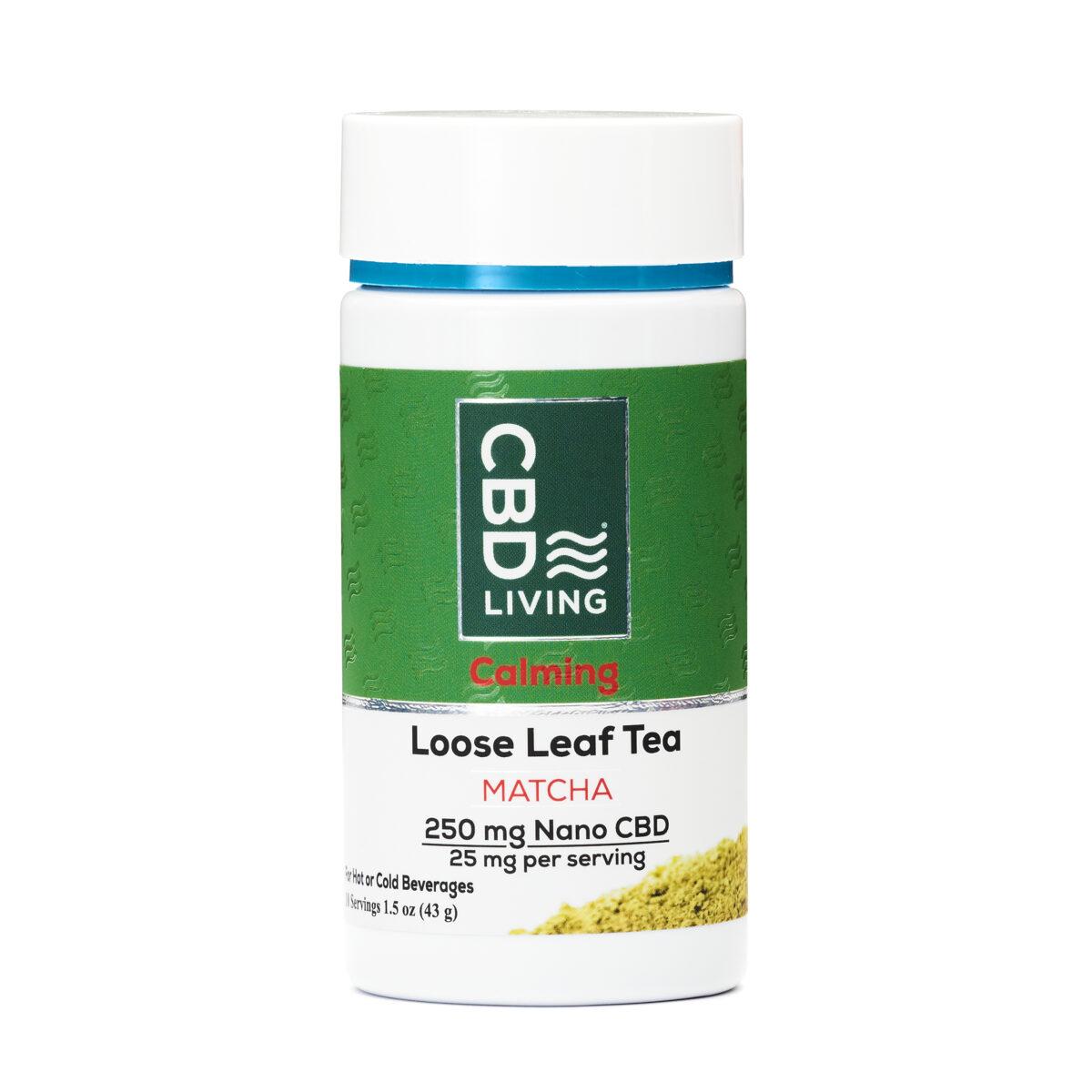 Чай CBD 43г., КБД Чай Для Отдыха и Спокойствия, 25мг CBD в порции, Tea – Matcha Instant 250 mg CBD Living, США