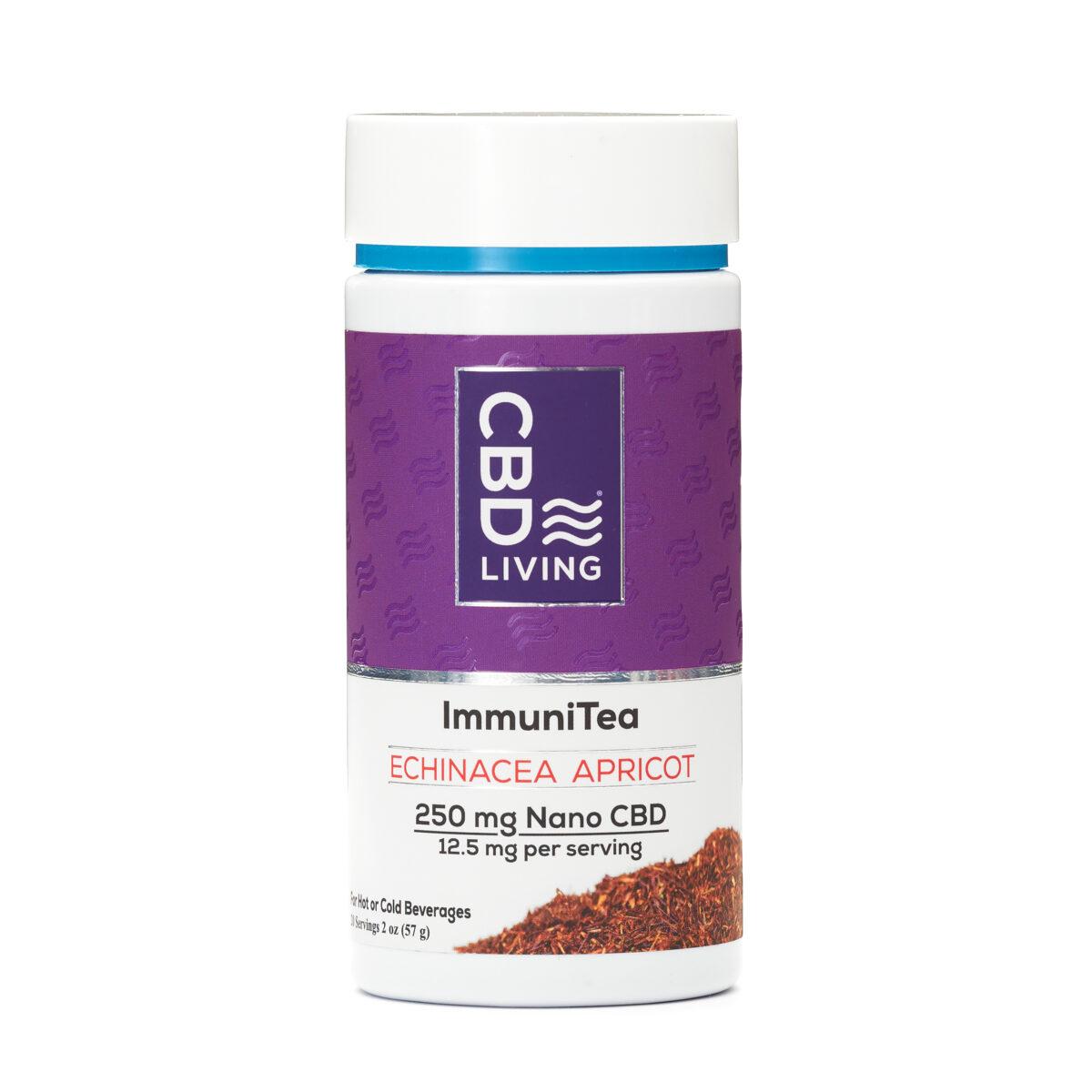 CBD Чай для Иммунитета 57г., КБД Чай 12.5мг CBD в порции, Вкус Абрикос-Эхинацея, Echinacea Apricot 250 mg CBD Living, США