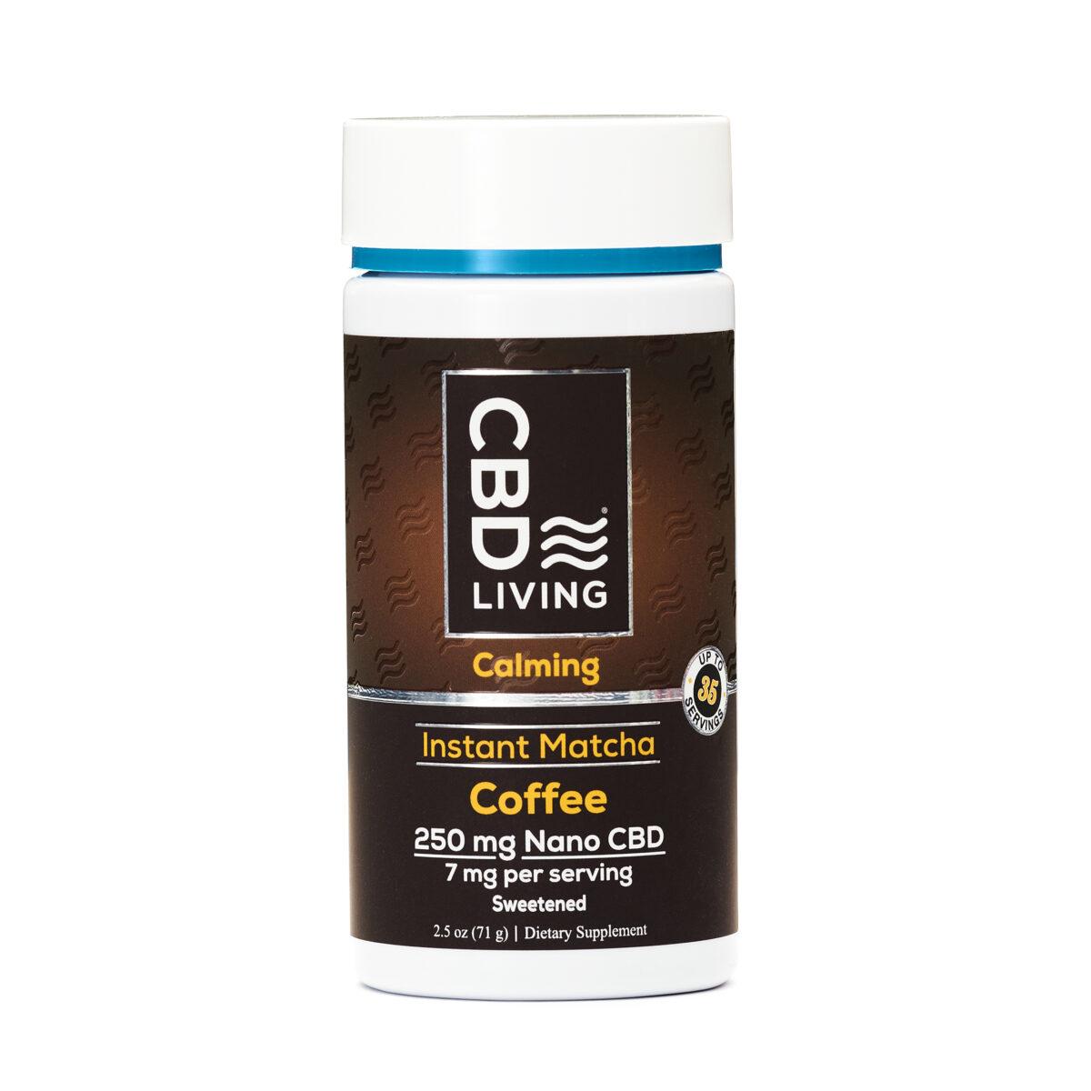 CBD Кофе 71г., КБД Кофе от Стресса и Беспокойства, CBD Instant Matcha Coffee 250 mg CBD Living, США