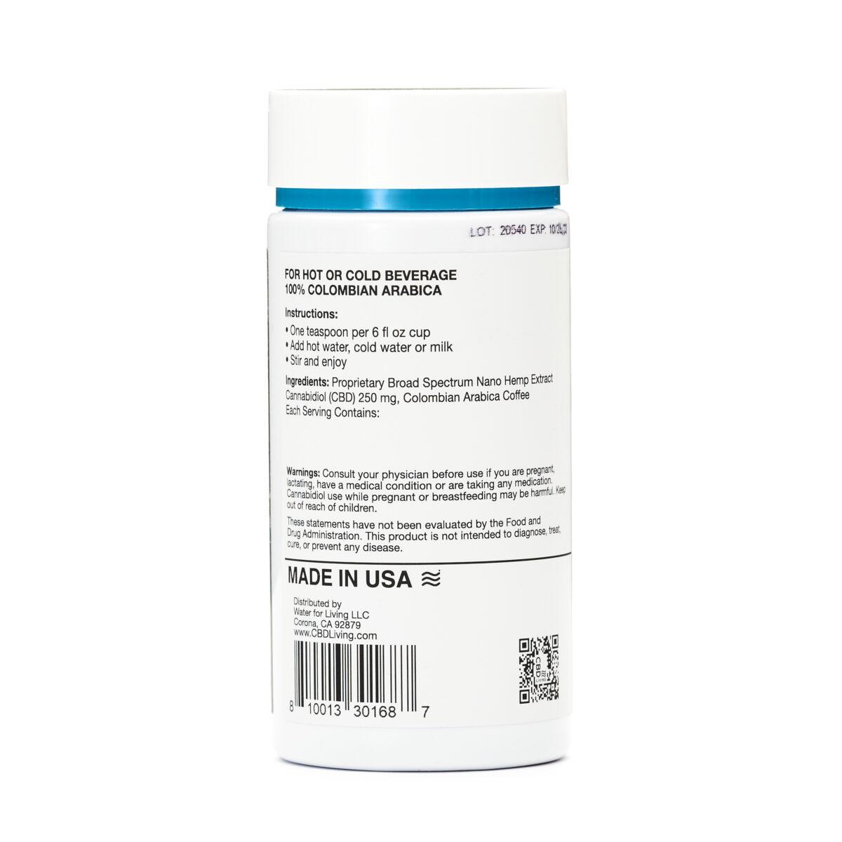 CBD Кофе 71г., КБД Кофе От Стресса И Беспокойства, CBD Instant Black Coffee 250 mg CBD Living, США