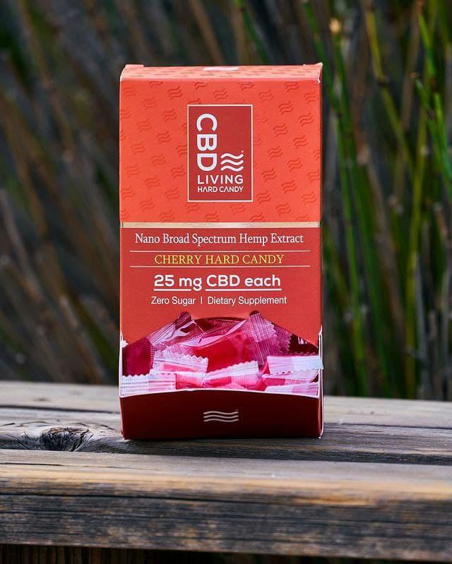 Конфета CBD, Леденец КБД 25мг. в 1 шт., Вишневый CBD Леденец Для Настроения, Hard Candy Cherry CBD Living, США