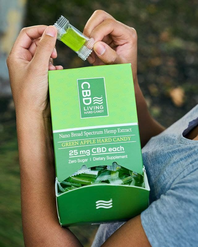 Конфета CBD, Леденец КБД 25мг. В 1 шт., со вкусом Яблоко, CBD Леденец Для Настроения, Hard Candy Green Apple CBD Living, США