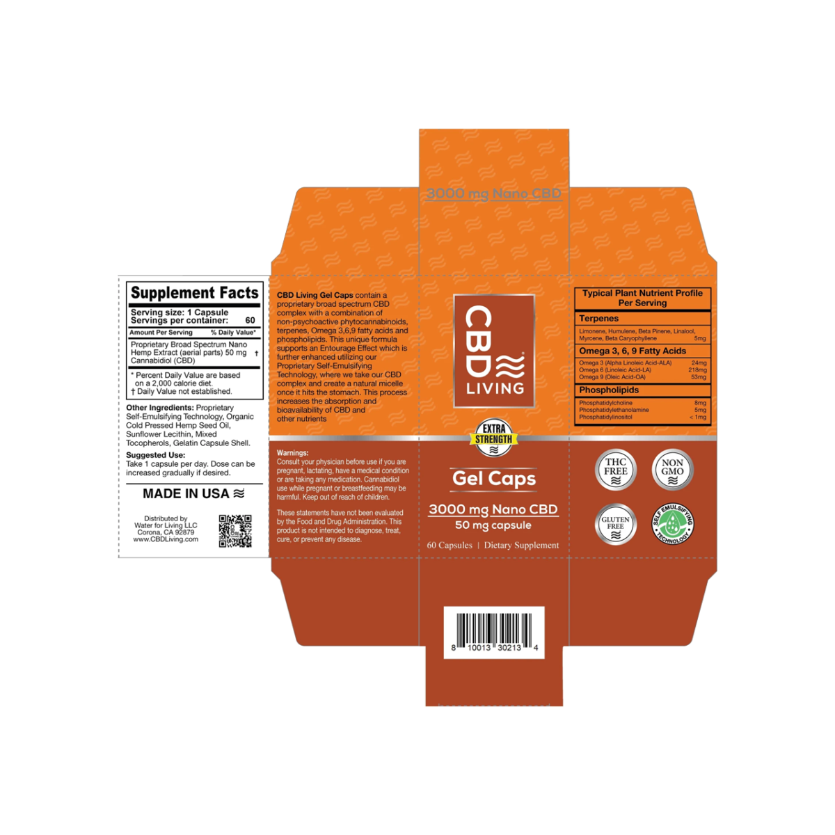 3000 мг. Капсулы CBD (КБД) 60шт., 50мг. КБД в Капсуле, Витаминный Комплекс, Gel Capsules 3000 mg CBD Living, США