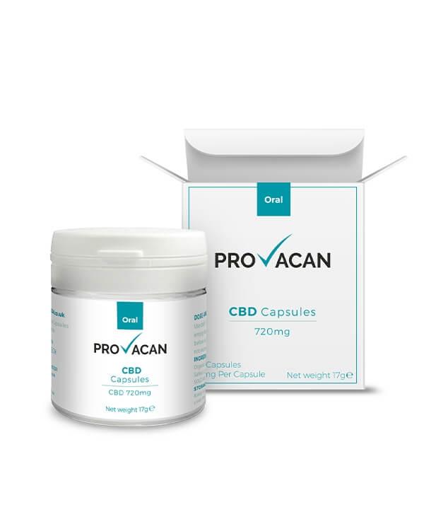 CBD Капсулы 30шт. по 24мг CBD в Каждой, КБД Капсулы 720 mg CBD Capsules Provacan, Англия