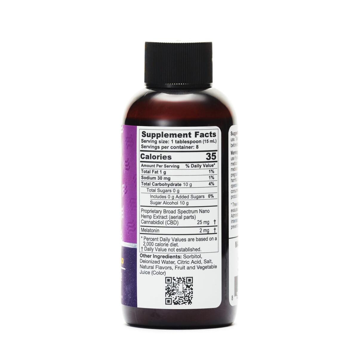 120 мл. Сироп CBD (КБД) для Сна и Отдыха, 25мг. CBD и 2мг. Мелатонина в 1 ст. Ложке со вкусом Винограда, Sleep Aid Syrup Grape 200 mg CBD Living, США