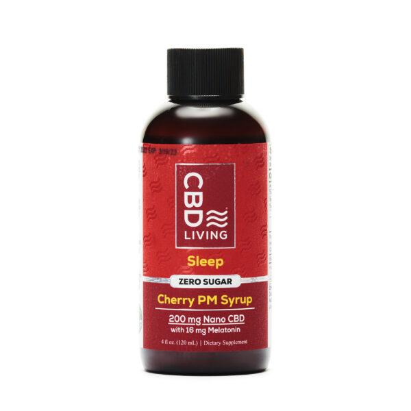 120 мл. Сироп CBD (КБД) для Сна и Отдыха, 25мг. CBD и 2мг. Мелатонина в 1 ст. Ложке со Вкусом Вишни, Sleep Aid Syrup Cherry 200 mg CBD Living, США