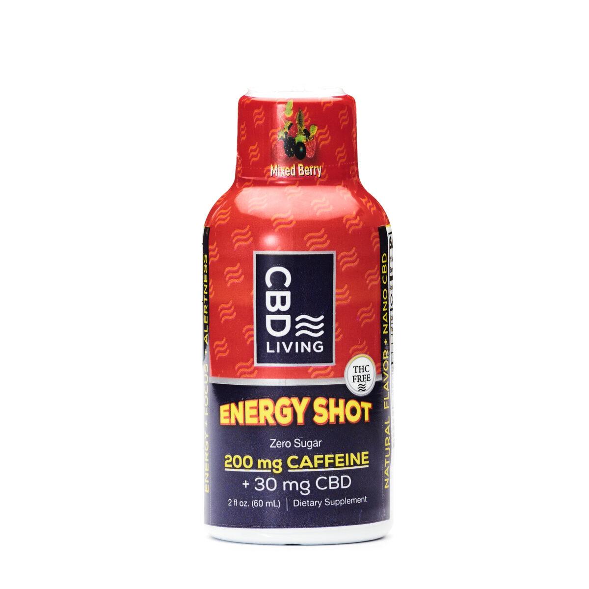 КБД Энергетик, 30мг. CBD в Энергетике, 200 мг. Кофеина, Вкус Ягода, Energy Shot 30 mg CBD Living, США