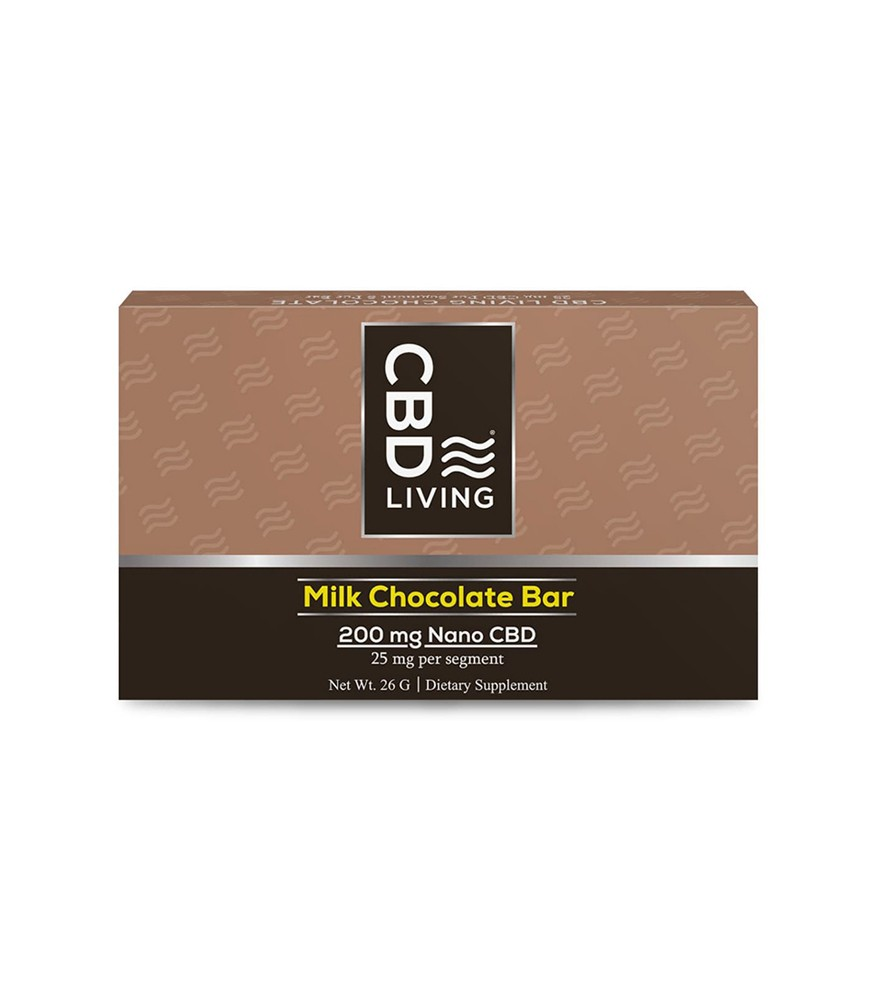 Молочный Шоколад CBD (КБД) от Стресса, 25мг. CBD на сегмент, Milk Chocolate Bar 200 mg CBD living, США