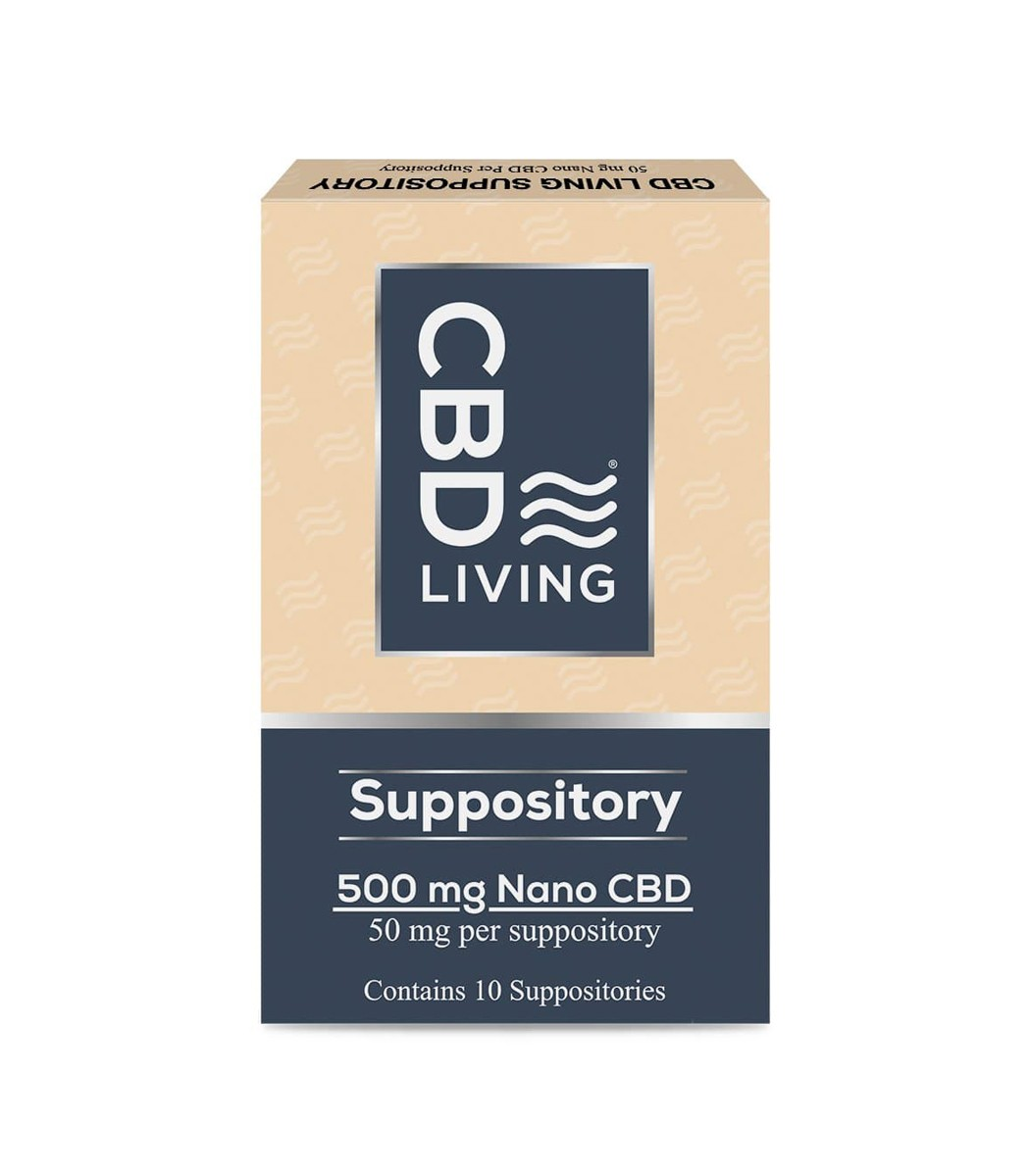 Суппозиторий CBD 12шт., 50мг CBD в Свече, Ректальные Свечи с КБД, Suppositories 500 mg CBD Living, США