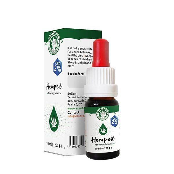 10 мл. Масло CBD (КБД) для Иммунитета и Здоровья 190 мг., CBD oil 2% 190 mg CBD (no THC), Cannadorra, Чехия