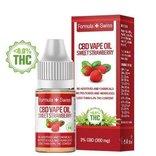 Масло для вейпа КБД, CBD Vape Oil Sweet Strawberry 3% 300 мг., 10 мл, 0% ТГК
