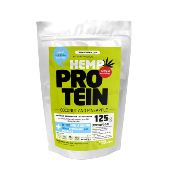 125 г.Протеин с КБД, Кокос + Ананас, Веган, Hemp protein 125g – Coconut & Pineapple, Cannadorra, Чехия