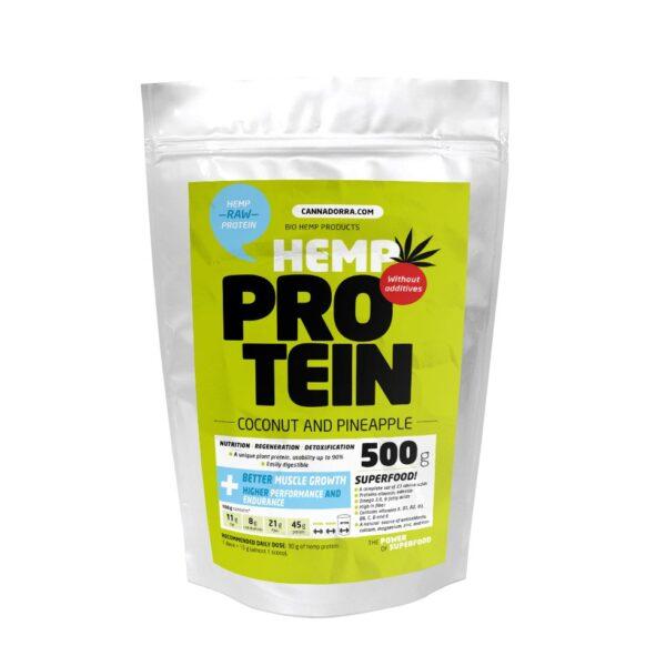 500 г.Протеин с КБД, Кокос + Ананас, Веган, Hemp protein 500g – Coconut & Pineapple, Cannadorra, Чехия