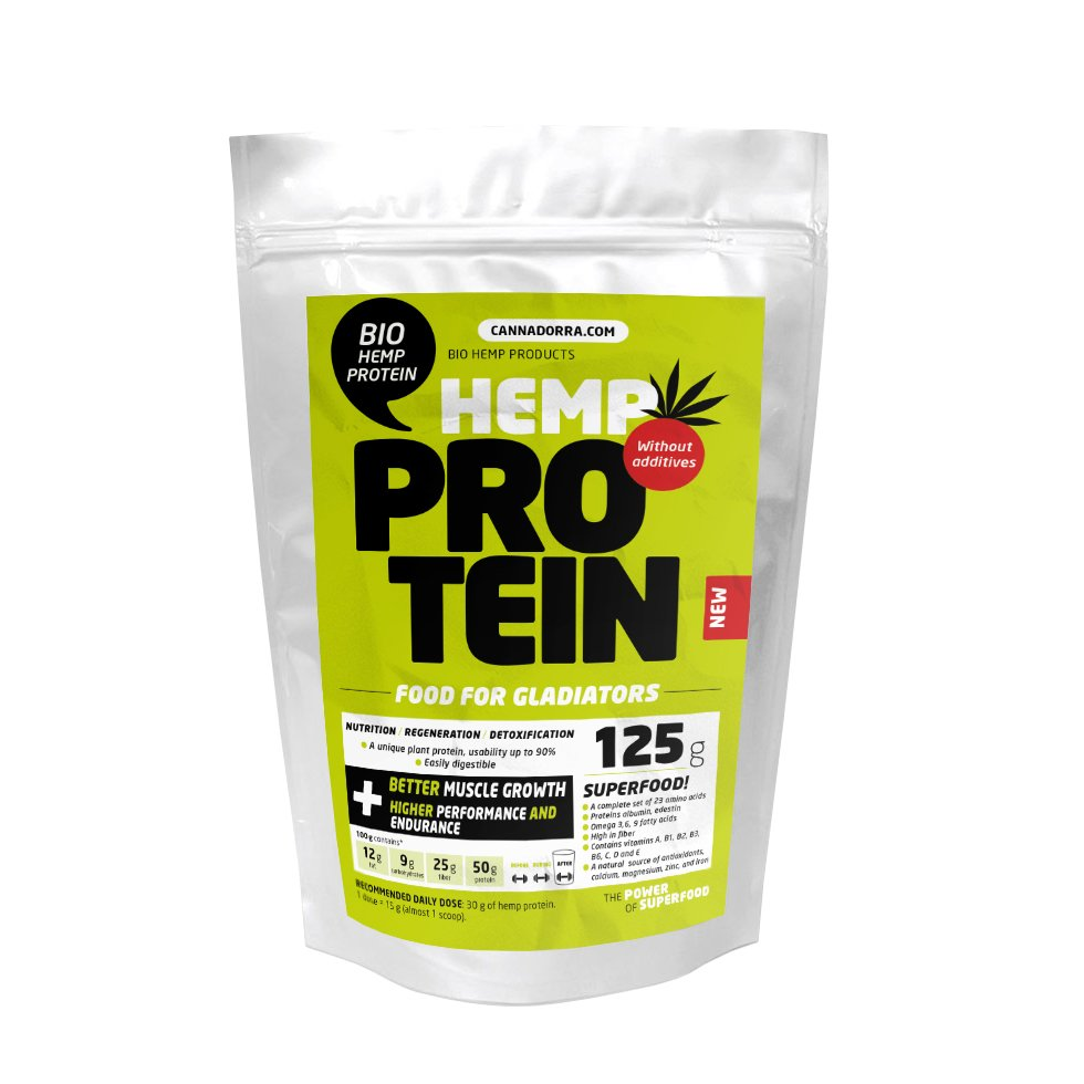 125г. CBD Протеин с КБД, Без Лактозы, Без Глютена, Hemp protein BIO 125 g, Cannadorra, Чехия